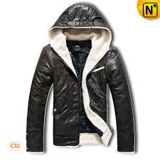 men s padded pu hooded jacket sherpa fleece jackets cw150015