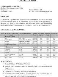 Chartered Accountant Resumes 5 Chartered Accountant Resume Templates Free Download