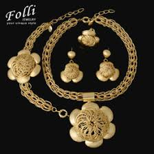 whole 2017 fashion choker jewelry sets big flower pendant necklace earrings bracelet dubai gold color african costume jewelry sets