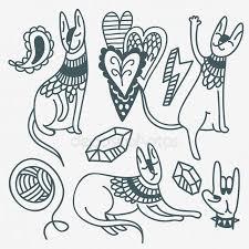 Tetování Kočka Stock Vektory Royalty Free Tetování Kočka Ilustrace