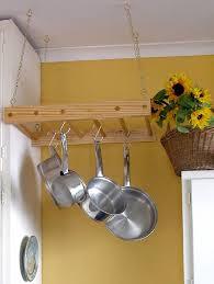 wall mounted pot racks for kitchen diy wooden hanging pot rack