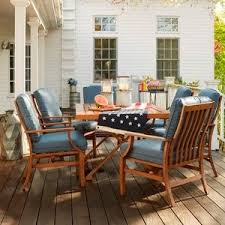 osh outdoor furniture covers. the vintageinspired catalina dining set with blue cushions buy online osh outdoor furniture covers
