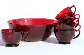 red glass bowl vintage anchor hocking ruby red glass bowl punch cups egg set coffee laurel red glass bowl