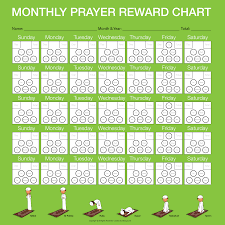 Salat Chart Monthly Prayer Reward Chart Boy Islam For Kids Reward