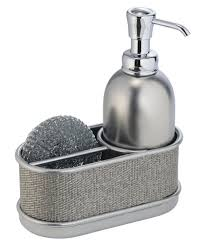 kitchen sink soap dispenser with sponge holder for soap organizer idea stainless steel double