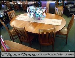 60 inch dining table round collection extended with 2 leaves