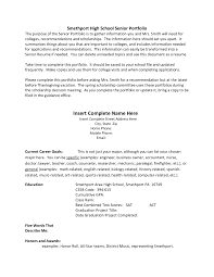 Cover Letter Example Of High School Resume For College Sample High