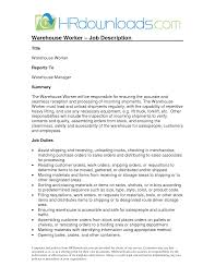warehouse duties resume warehouse worker job description warehouse duties resume 0636