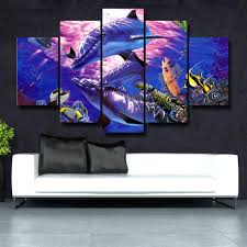 modular frame picture poster large canvas painting 5 panel fishes for bedroom living room home wall