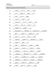 chemical equation balancing equations