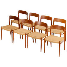 eight danish dining chairs model  by niels moller in teak and