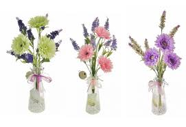 Lavender And Gerbera Artificial Flowers In A Bottle Vase With Crystals -  Beautiful Displays ...