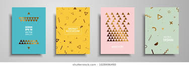 placard templates set with abstract geometric elements design cards with gold elements applicable for