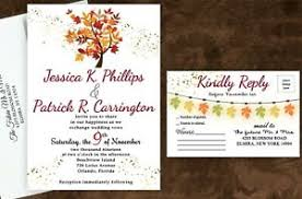 Details About Personalized Wedding Invitations Fall Leaves With Envelopes And Rsvp Cards 100