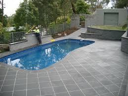 Exterior Design, Pool Deck Pavers And Tiles 2 Pavers Around Pool Grey Tiled  Patio: