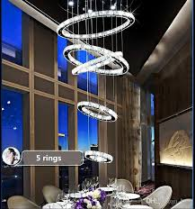 modern 5 circle ring minimalist floor living room led k9 crystal chandeliers creative villa long circular staircase drop lights black chandelier