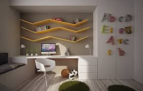 ... creative kids study room design idea with unique shelves and white  chair ...