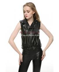 cool black las motorcycle sleeveless leather jacket