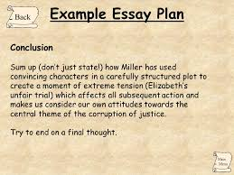 the crucible arthur miller ppt  example essay plan conclusion back