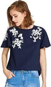 Floerns Women's Flower <b>Embroidered</b> Flutter <b>Short Sleeve T</b>-<b>Shirts</b> ...