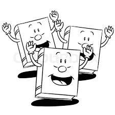 hand drawn sketch of books smiling character cartoon isolated black and white cartoon vector ilration for coloring book line drawn vector stock