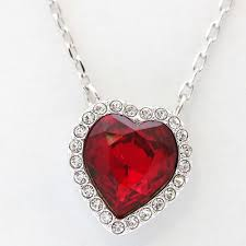 swarovski swarovski cin heart pierced earrings set necklace lady s silver red crystal rhinestone metal accessories 5117696
