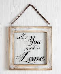 all you need is love window frame wall sign