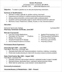 Pharmacy Resume Sample