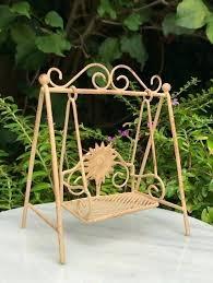 fairy garden furniture miniature dollhouse fairy garden furniture mini flower swing set rustic tan fairy garden fairy garden furniture