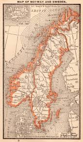Norway Nautical Charts Download 1888 Antique Norway And Sweden Map 1888 Rare Miniature