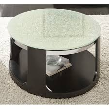 glass top round cocktail table on wheels croften