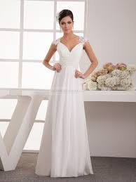 Appliqued Simple A Line Chiffon Wedding Dress