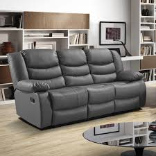 Stylish Sofas Slate Dark Grey Recliner Sofa Collection In Bonded Leather