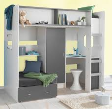 childrens and teenagers high sleeper bed with futon style bed wardrobe and desk compact