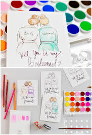 will you be my bridesmaid coloring in card
