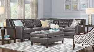 Gray leather living room furniture Sectional Reina Point Living Room Set Gray Leather Sectional With Tufted Cushions With Blue And Yellow Accent Pillows Blue And Yellow Furniturecom Gray Blue Yellow Living Room Furniture Decorating Ideas