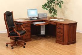 small corner office desk with office chair and drawers and
