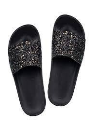 black faux leather slides 15046231 zoom image 1