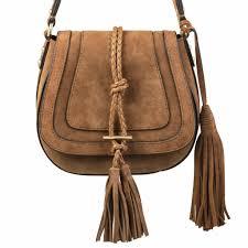 Asos Design Messenger Suede Tassel Loafers Tan Tassel Bag Suede