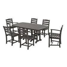 la casa cafe slate grey 7 piece plastic outdoor patio dining set slate grey mahogany white