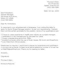 Sample Cover Letter Project Manager Kliqplan Com