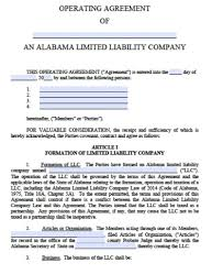 Free Alabama Llc Operating Agreement Template Pdf Word
