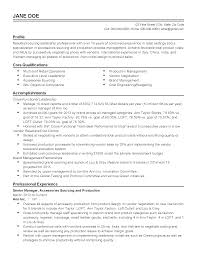 Product Manager Resume Objective Production Manager Resume Samples