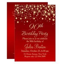 Golden Confetti On Red 90th Birthday Invitation Zazzle Com