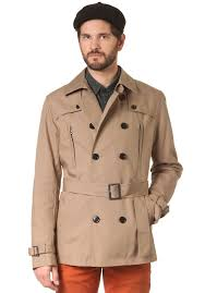 selected bowery db trench coat w belt mantel für herren beige planet sports