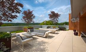 Exterior:Modern Roof Terrace Design With Stylish Grey Sofa Set And  Beautiful Scenery View Good