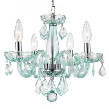 clarion collection 4 light chrome finish and c blue turquoise crystal chandelier 16 d x