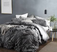 knots handcrafted texture ties king duvet cover oversized king xl dark gray