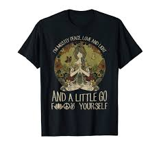 Yoga Tattoo Women T Shirt Im Mostly Peace Love And Light Tee