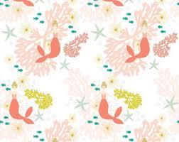 Mermaid quilt fabric   Etsy & Coral Mermaids Quilting Fabric by the Yard. Quilt Cotton Fantasy Baby Girl  Blush Nursery Mermaid Adamdwight.com
